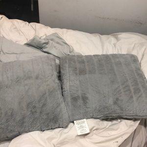 Two soft throw pillows